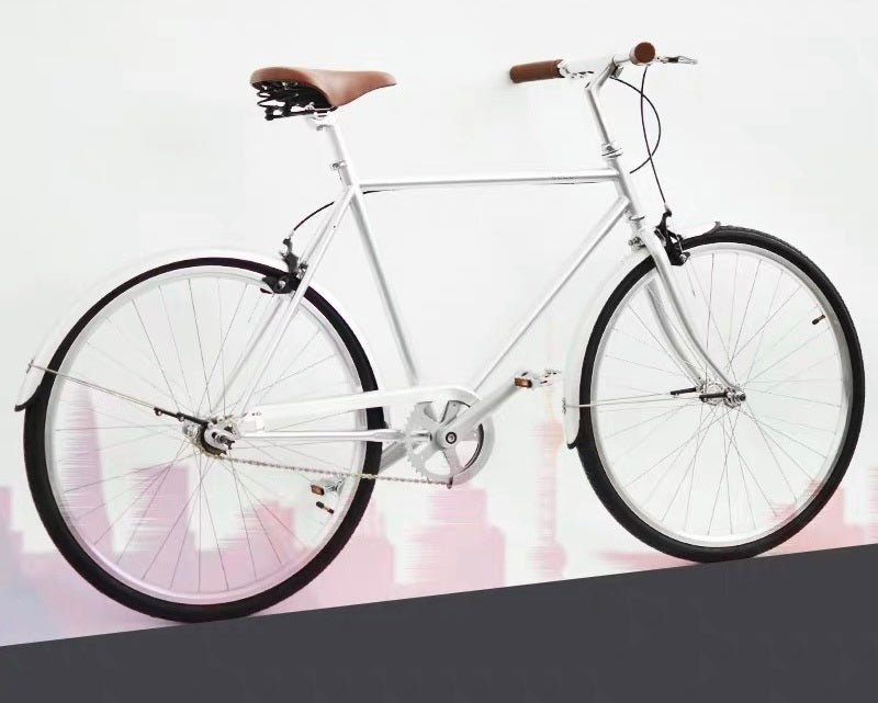 KOLOR CLASSIC CITY BIKE 26 INCH ELECTROPLATED SILVER 3 SPEED + FREE HEADLIGHT AND BIKE LOCK Q5