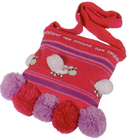 Sheep & Pom Pom Knitted Bag - BKSPP