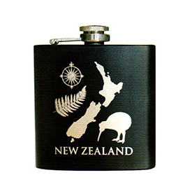 NZ Fern Map Kiwi Hip Flask - 82248