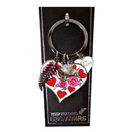 Kiwi Diamantes Hearts Key Ring - 20285 SET OF 4