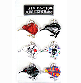 Assorted Set Of 6 Kiwi Key Rings - 21981