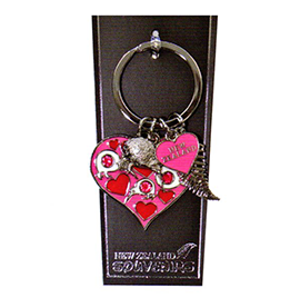 Kiwi Diamantes Hearts Key Ring - 20286 SET OF 4