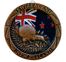 New Zealand Flag & Kiwi Copper Plate - 80607