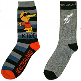 MENS Kiwi & Silver Fern Socks - 55173/4 SET of 6