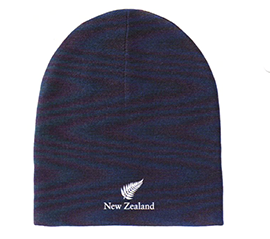 100% Merino Wool NZ Fern Beanie Navy - AMB004