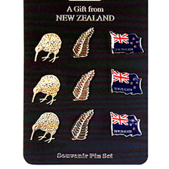 NZ Kiwi, Fern & Flag Lapel Badges - B31 SET of 9