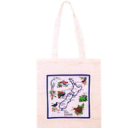 New Zealand Map & Birds Carry Bag - CB147