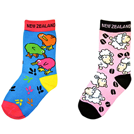 CHILD Kiwi & Sheep Socks - 55155/ 57 SET of 4