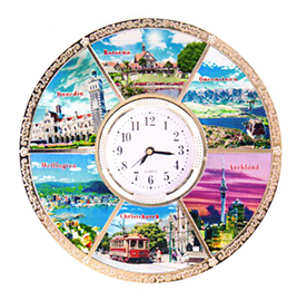 NZ Cities Metal Plate With Clock - PLA208C