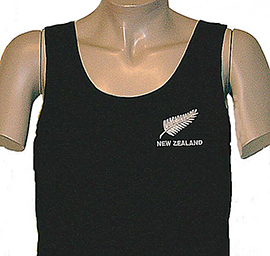 New Zealand & Fern Singlet Embroidered