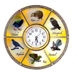 NZ Birds Metal Plate With Clock - PLA207C