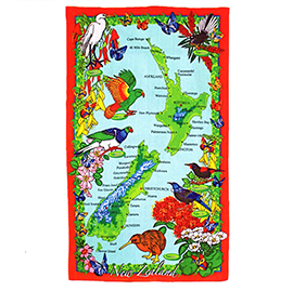 NZ Birds, Plants & Map Tea Towel - 65051
