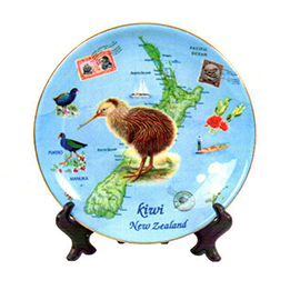 NZ Map & Kiwi Plate - PLA428