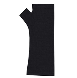 Plain Merino Wool Fingerless Gloves - B000 Black