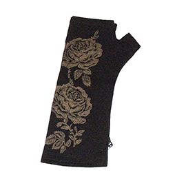 Rose Merino Wool Fingerless Gloves - B050 BLACK