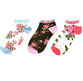 Flowers Sports Socks - 55163/64/66 SET of 6