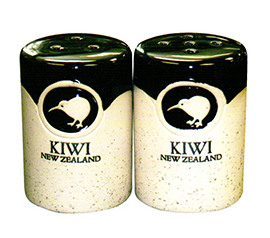 Stoneware Kiwi Salt & Pepper Shakers - 10438