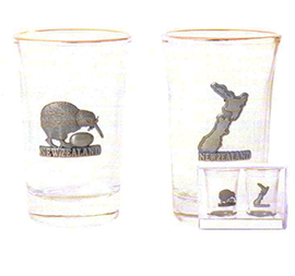 Kiwi & NZ Map Shot Glasses - SH65 Set of 2