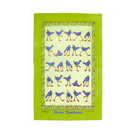Pukeko Green Tea Towel - TT645