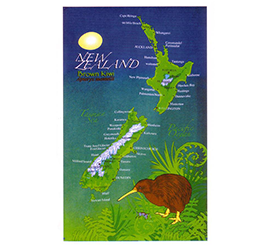 Kiwi & NZ Map Tea Towel - 65046