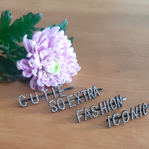 Black + Rhinestone Word Hairpins (Ready for shipping in 10 working days)