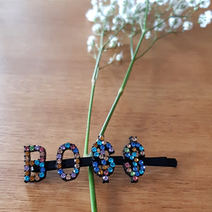 Black + Coloured Rhinestone Word Hairpins