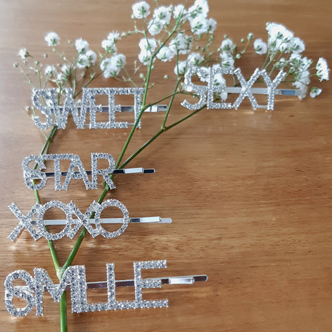 Silver + Rhinestone Word Hairpins (Ready for shipping in 10 working days)