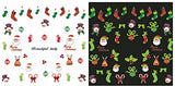 Christmas New Year Holiday Assortment Nail Art Water Slide Tattoo Decals & One Glow In The Dark Sheet - Holiday Stamps, Snowman, Santa, Bells, Snowflakes - Pack of 10