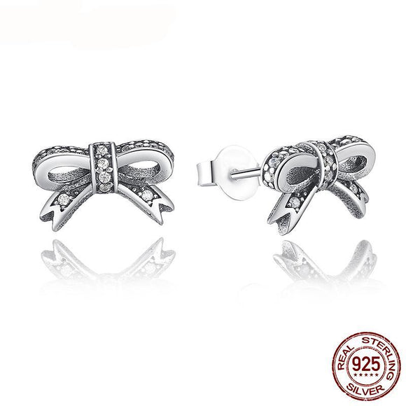 Genuine 100% 925 Sterling Silver Sparkling Bow Stud Earrings With Clear CZ For Women Compatible with Jewelry Gift