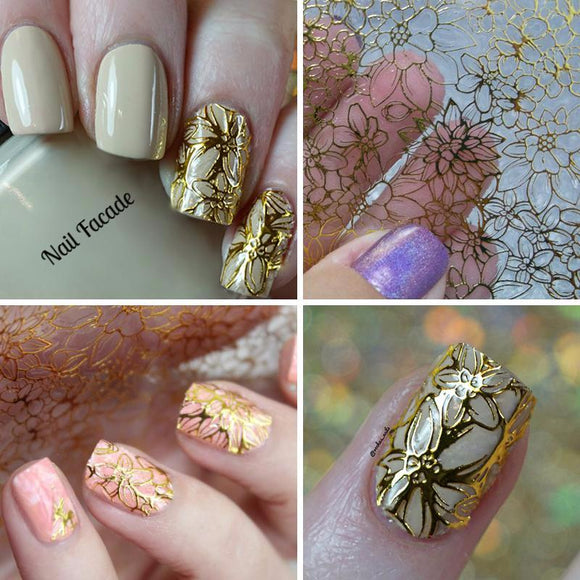 Blooming Flower Embossed Nail Stickers