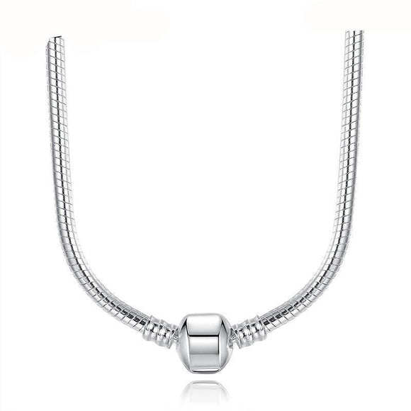 Fashion 45CM Silver Snake Chain Necklace Pendant Fit Original Beads Charms Compatible with Jewelry Gift