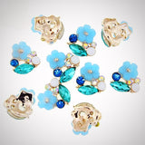 10 Pc  Flower Design Pearl With Crystal Rhinestones nail jewelry