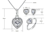 Romantic Authentic 925 Sterling Silver Sparkling Heart Shape Cubic Zirconia Jewelry Set