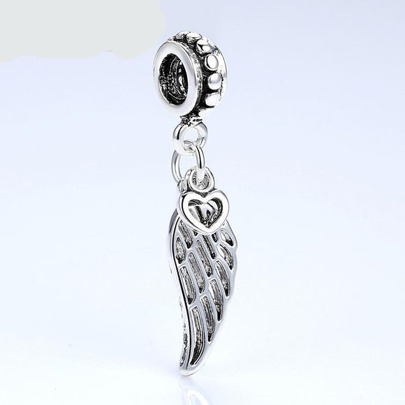 Angel Wing & Heart Silver-plated Charm  Bracelet Bangle For Women DIY Jewelry