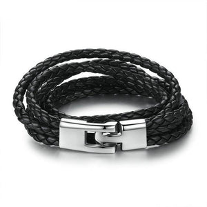 PU Leather Black Wrap Bracelet With Toggle Clasp High Quality Fashion Jewelry Men/Women