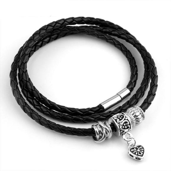 Leather Wrap Bracelet for Women/Men With Silver Charm Magnet Clasp