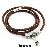 Leather Wrap Bracelet for Women & Men With Silver Charm Magnet Clasp