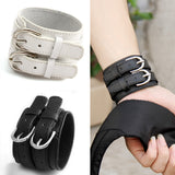 100% Real Leather Double Buckle Punk  Wrist Bracelet for Men and Women