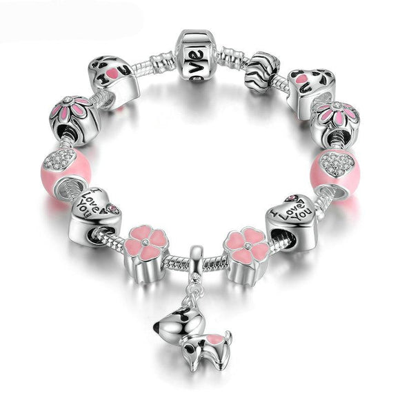Cute Pink Pet Dog Silver Charm Bracelet for Women DIY Bracelets