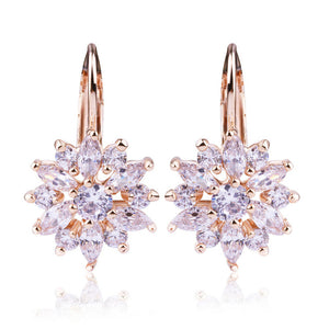 Gold Color Stud Earrings AAA Zircon High Quality Crystal Earrings For Women