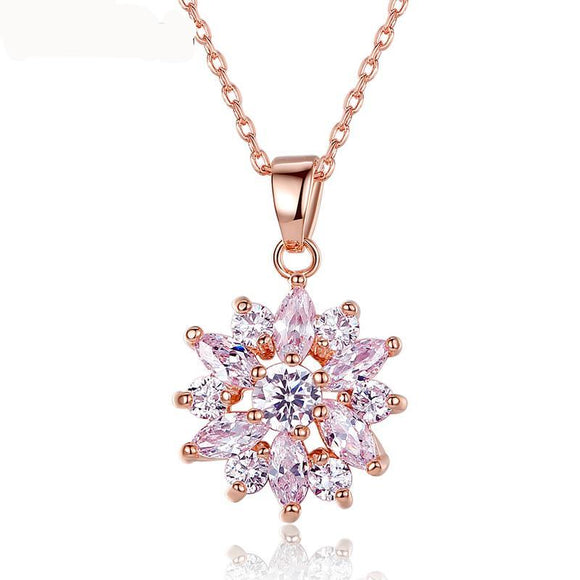 Gold Color Flower Pendant Necklaces For Women With High Quality Zircon Crystal