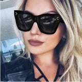 Fashion Square Sunglasses Women Cat Eye Luxury Brand Big Black Sun Glasses Mirror Shades