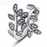 100% 925 sterling Silver Leaf Rings With Crystal Compatible With European Fit Original Same Ring Jewelry XCH7114