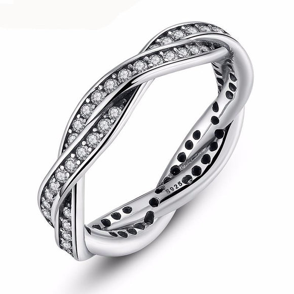 Authentic 100% 925 Sterling Silver Rings With Full Crystal Compatible With European Fit