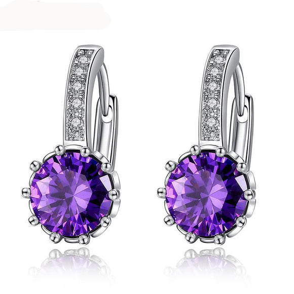 Gorgeous Hoop Earring for Women With AAA CZ Luxury White Gold Color Earrings