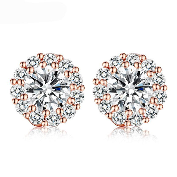 Romantic Design AAA CZ Crystal White Color Color Stud Earring for Wedding Luxury Jewelry