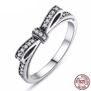 Fashion European Authentic 100% 925 Sterling Silver Bow Knot Wedding Ring With Crystal Compatible With Original Jewelry