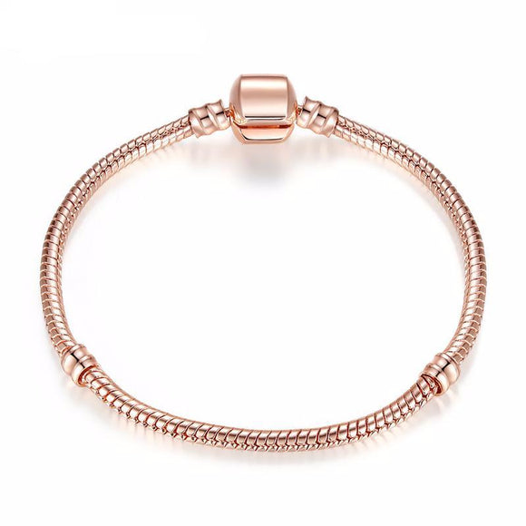Rose Gold Color & Silver Snake Chain Charm Bead Bracelet Jewelry Gift For Women