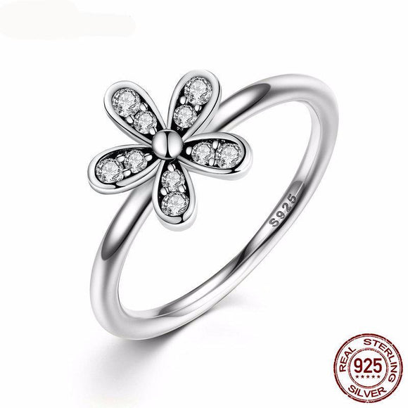 100% 925 Sterling Silver Dazzling Daisy Meadow Stackable Ring With Clear CZ For Women