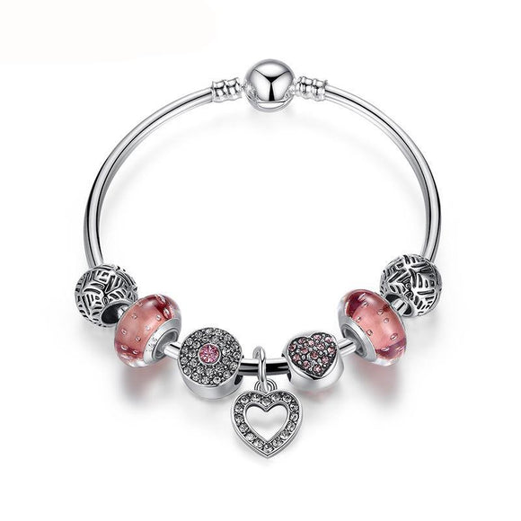 Pink Heart Charm Bangle For Women Fashion DIY Beads Fit Original Bracelet Jewelry